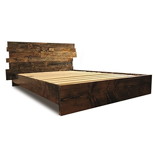 Wooden Platform Bed Frame and Offset Paneled Headboard / Modern and Contemporary / Rustic and Reclaimed Style / Old World / Solid Wood (Headboards Wooden Rustic)