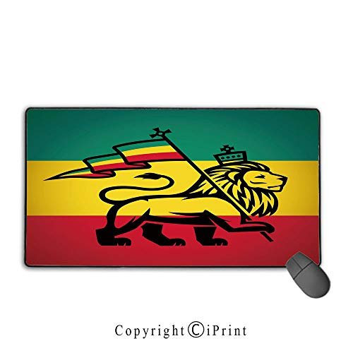 Extended gaming mouse pad with stitched edges,Rasta,Judah Lion with a Rastafari Flag King Jungle Reggae Theme Art Print Decorative,Black Green Yellow and Red, Suitable for offices and homes,15.8