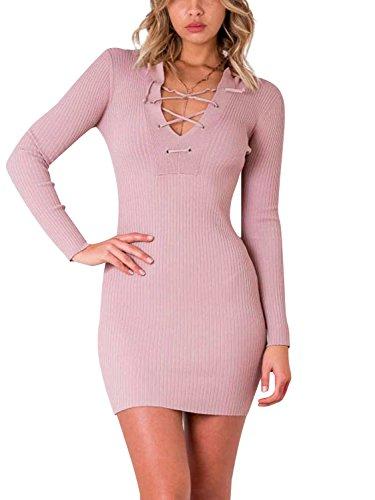 Bodycon Sexy Donna Di Inverno Up Rosa Partito Maglia Lace Simplee Chiaro Abbigliamento Abito Mini cqTUxCtwq8