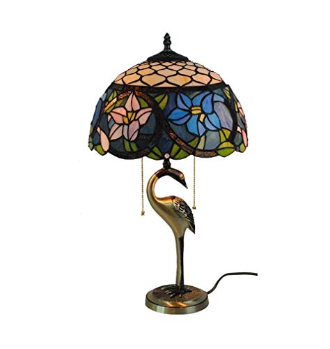 - 12-Inch Stained Glass Pink & Blue Flower Pattern Lampshade Tiffany Style Table Lamp Pure Copper Base Living Room Bedroom Bedside Table Lamp 110-240V