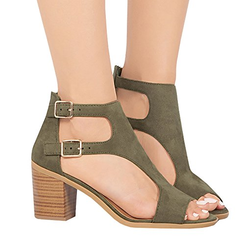 Liyuandian Womens Open Toe Ankle Strap Cutout Double Buckle Zipper Back Stacked Heel Sandals (Double Buckle Ankle Strap)