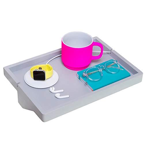 BedShelfie Plus The Original Bedside Shelf - 9 Colors / 2 Sizes - AS SEEN ON Business Insider (Plus Size, Light Grey)