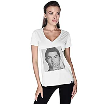 Creo White Cotton V Neck T-Shirt For Women