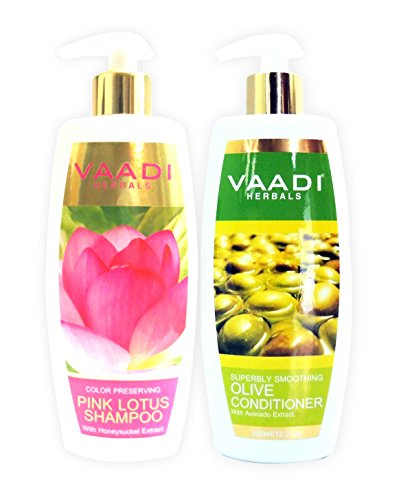 Lotus with Honeysuckle Extract Shampoo and Olive Conditioner - ★ Color Preserving Shampoo - ★ ALL Natural - ★ Paraben Free - ★ Sulfate Free - ★ Scalp Therapy - ★ Moisture Therapy - ★ Suitable for All Hair Types - Each Pack of 350ml - Each 11.8 Oz - Vaadi Herbals