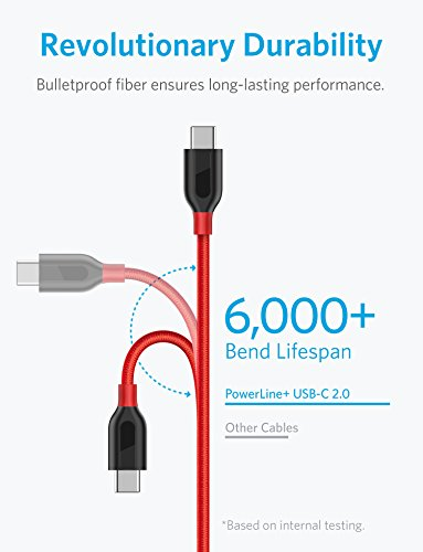 Anker [2-Pack, 6ft] PowerLine+ USB-C to USB-A, Double-Braided Nylon Fast Charging Cable, for Samsung Galaxy S9/S9+/S8/S8+/Note 8, MacBook, LG V20/G5/G6, and More (Red) by Anker (Image #1)