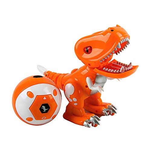ERollDeep Dinosaur Toys Electric Cartoon Tyrannosaurus Rex with Led Lights & Sounds, Walking & Roaring Realistic Dinosaur with 2 Pack of Rechargeable Battery for Boys-Orange -