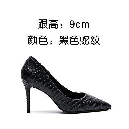 scarpe da e moda Nero shallowly semplice scarpe singola unico lavoro scarpa scarpe sottile tacco FLYRCX parte sesso semplice alto scarpe tacco di Hqzzwg
