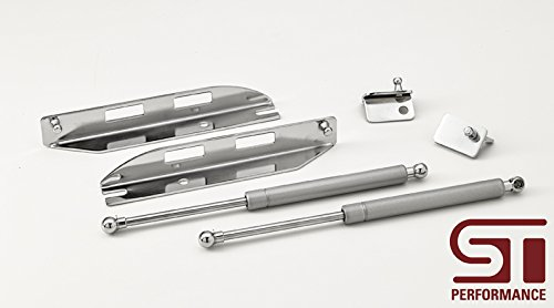 PonyParts Ford Mustang Bolt on Hood Strut Kit - Chrome (05-14 All)