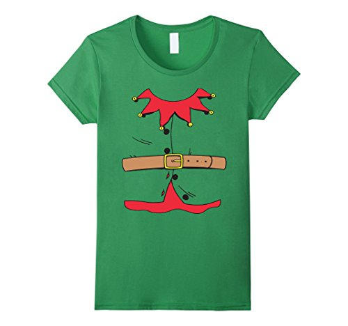[Women's Christmas Elf Costume T-Shirt Medium Grass] (Womens Christmas Elf Costume)