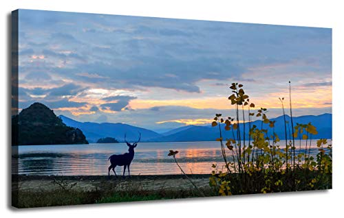 """Canvas Wall Art Landscape Modern Mountain Artwork Blue Sky Sunset Picture Painting Prints Panoramic Framed Ready to Hang for Living Room Bedroom Kitchen Home Office Décor, One Panel 40""""x20"""""""