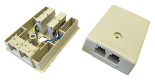 Allen Tel Products AT108B-52 2 Ports, 6 Position, 1-6 Conductor, 8 Position, 1-8 Conductor Keyed Surface Mount Duplex IDC Outlet Jack, Electric Ivory ()