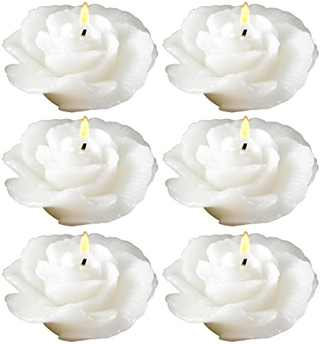Biedermann & Sons Rose-shaped Floating Candles In White, Pack of 12 ()