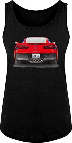 (BSW Women's Nice Ass 2014 Chevrolet Corvette C7 V8 Muscle Car Tank MED Black)