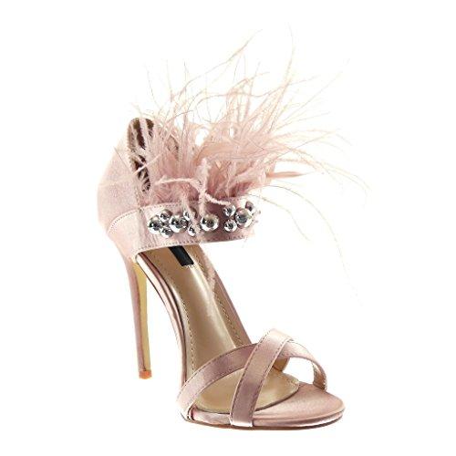 Stiletto Angkorly Sandali borchie Slippers Fashion con ago Heel Scarf Pen ad cm Needle 5 11 Elegant alto Sexy rosa Woman Iq1wIFrg