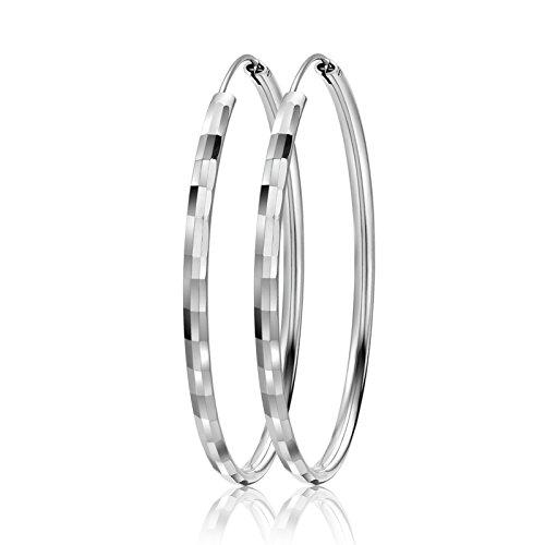 - LIUANAN 925 Sterling Silver 50mm& 55mm & 60mm Round Hoops Earrings Fashion Sport Ear Stud Pair (Square60mm)