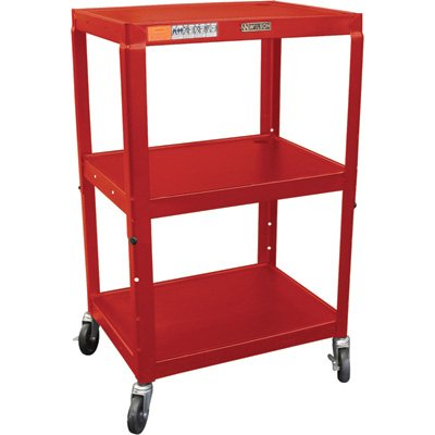 H WILSON W42ARE Height Adjustable Metal Utility Cart, Red