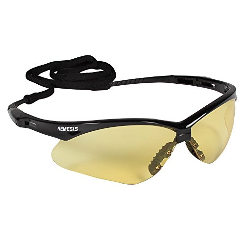 Jackson Safety V30 Nemesis Safety Glasses (22476), Amber Anti-Fog Lens, Black Frame, 12 Pairs/Case