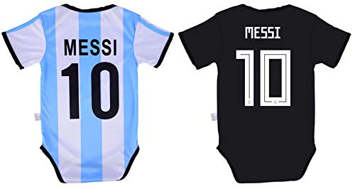 19 Away Soccer Jersey - World Cup Baby Lionel Messi #10 Argentina Soccer Jersey Baby Infant and Toddler Onesie Romper Premium Quality - Home and Away PACK OF 2 (18-24, Pack of 2)