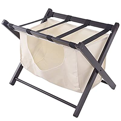 Folding Luggage Rack Bedroom Suitcase Stand Hamper Laundry Cloth Bag Wood