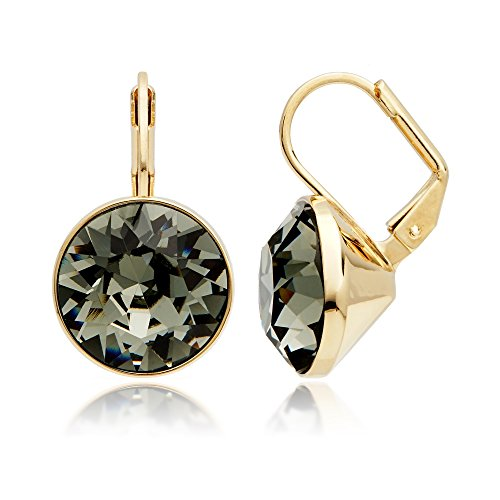 MYJS Bella Drop Earrings Gold Plated with Black Diamond Swarovski Crystals Exclusive Limited Edition