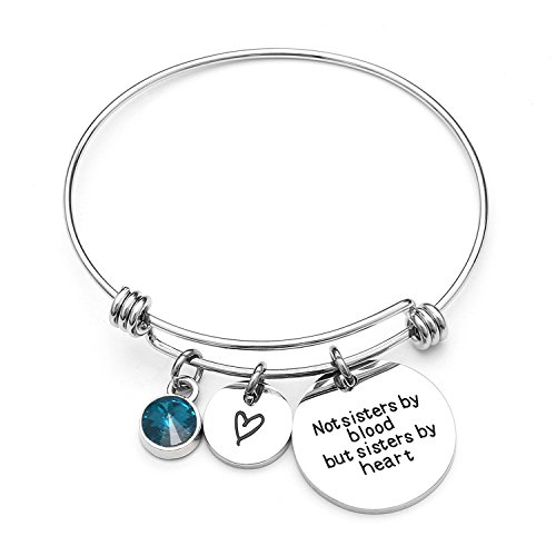 Angel's Draw Home Best Friends Bracelets- Not Sisters By Blood But Sisters By Heart Charm Bracelet- Sister Jewelry- Friend Jewelry- Perfect Gift for Friends (12-December-Blue Turquoise)