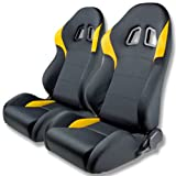 Tuner Series Reclinable Black Microfiber Fabric Sport Racing Seats With Yellow Trim Set of 2