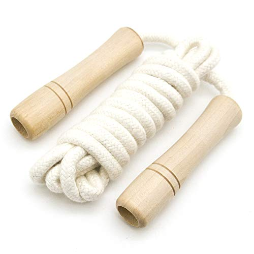 Braided Rope Handles - Fitness Jump Rope Kids - Wooden Handle - Adjustable - Cotton Braided Skipping Rope - Outdoor Fun Activity, Great Party Favor, Exercise Activity Kids