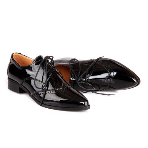 BalaMasa da donna con lacci tacchi bassi solido pompe scarpe, Nero (Black), 35