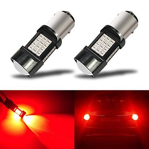 iBrightstar Newest Extremely Bright 36-SMD 3030 Chipsets 1157 2057 2357 7528 BAY15D LED Bulbs with Projector Lens Replacement for Tail Brake Lights, Brilliant Red (2003 Harley Sportster 1200 Anniversary Edition For Sale)