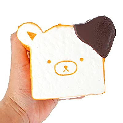 "SQHOHO 4.3"" Jumbo Chocolate Toast Bear Squishy Squeeze Toy Slow Rising Bread Scented"