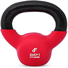Vinyl Coated Kettlebell Weights by Day 1 Fitness - 10 Sizes (5, 10, 15, 20, 25, 30, 35, 40, 45, & 50 Lb) - Iron Kettlebells with Vinyl Coating For Floor and Equipment Protection, and Noise Reduction - Free Weights For Ballistic, Core, Weight Training