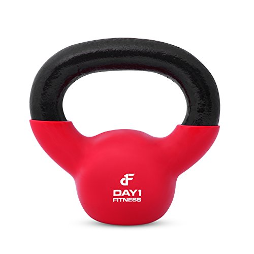 Day 1 Fitness Kettlebell Weights – Iron Kettlebells with Vinyl Coating For Floor and Equipment Protection, Noise Reduction – Free Weights For Ballistic, Core, Weight Training – 5 Lbs