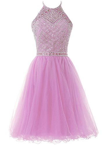 Lilac Solovedress Homecoming Prom Women's A Bridesmaid Dress Gown Line Party Evening Beaded Short Tulle qCOpqngZ