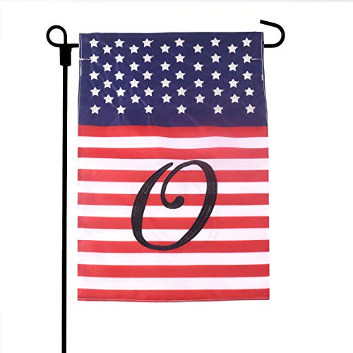 Garden Flag Letter - Fun-Here American Garden Flag Double Sided Home Welcome Monogram Letters Yard Outdoor&Indoor Decorative 12X18inch(O)