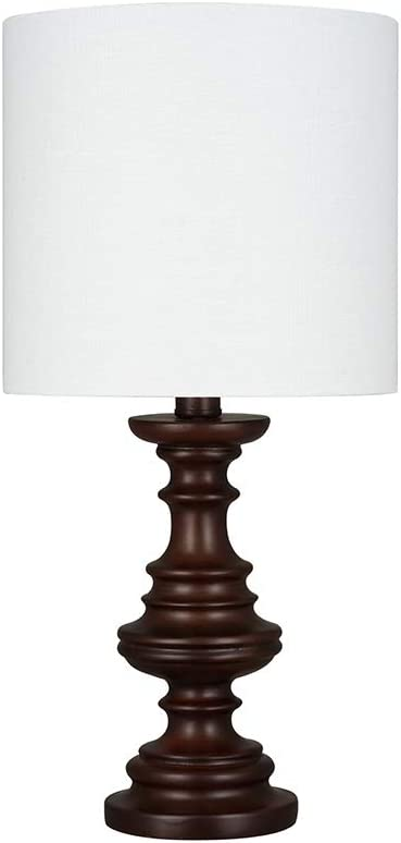 """Amazon Brand – Ravenna Home Faux Wood Table Lamp, Bulb Included, 18""""H, Espresso Dark Brown"""