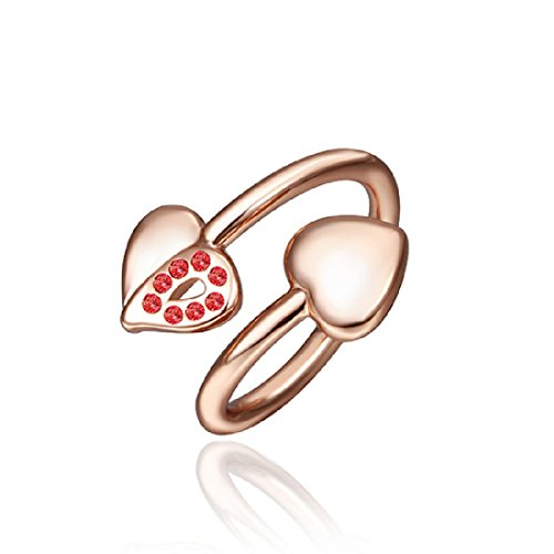 CY-Buity Rose Gold Plated Ring Shining Exquisite Double Heart Red Crystal Swarovski Elements Band Ring Finger Ring Bague Size 8