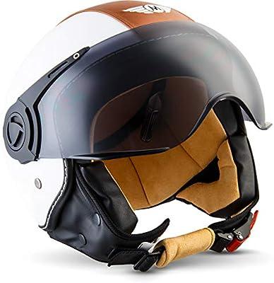 Moto Helmets H44 Blanco//Cuero S 55-56cm Helmet Casco de Moto