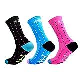 10. Mens Cycling Socks Sports Socks Running Socks Size 6-11 (Spot (Black BLue Pink), US mens size 6-11)