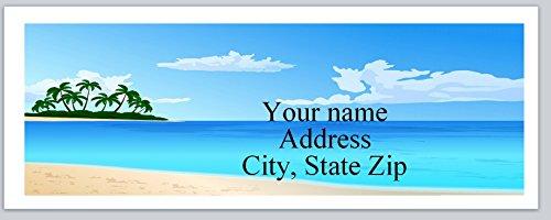 150 Personalized Return Address Labels Scenic Beach Palm Trees Island (ac 792) ()