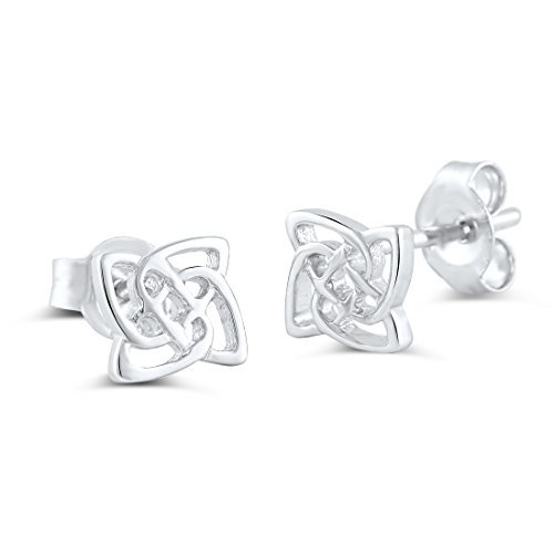 (Sterling Silver Celtic Knot Triquetra Stud Earrings - 6mm)
