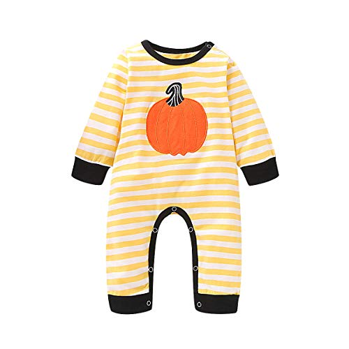 One Piece Halloween (Newborn Infant Baby Boys Girls Halloween Jumpsuit Striped Pumpkin One-Piece Romper Party Bodysuit Outfits (Yellow, 3-6)