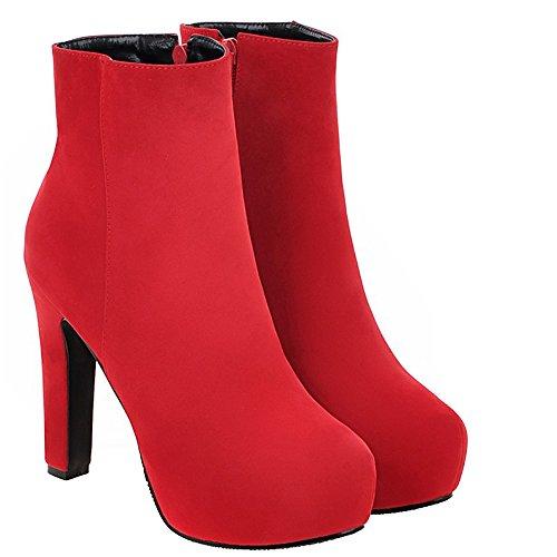 ENMAYER Mujeres Temperamento Nobuck Botas de Plataforma Elegante de la Cremallera Rojo