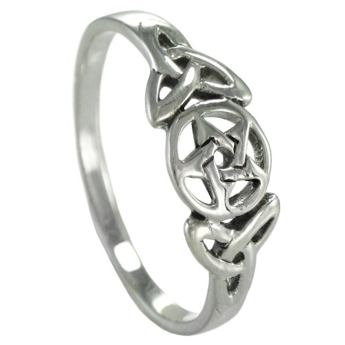 Sterling Silver Celtic Knot Pentacle Triquetra Pagan Wiccan Goddess Ring (sz 4-15) sz (Pentacle Ring)