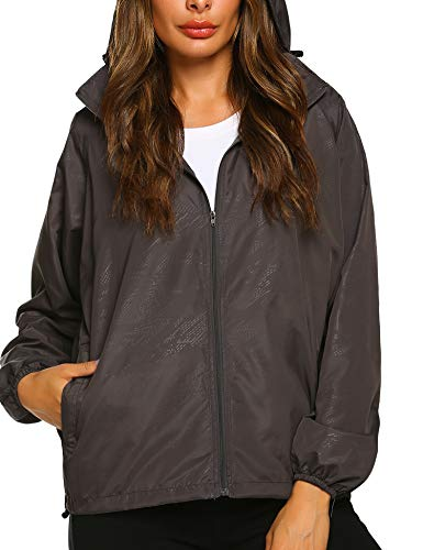 Zeagoo Lightweight Windbreaker Women Packable Raincoat Hooded Waterproof Jacket