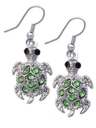 Azaina_cfj Lime Green Crystal Turtle Tortoise Pet Sea Animal Charm Dangle Hook ()