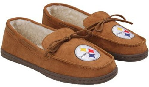 FOCO NFL Pittsburgh Steelers Football Team Logo Moccasin Slippers Shoes, Team Color, X-Large/Size 13-14 (Slippers Pittsburgh Steelers Nfl)