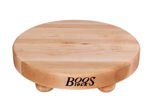 (John Boos Block B12R Round Maple Wood Edge Grain Cutting Board with Feet, 12 Inches Round, 1.5 Inches Thick)