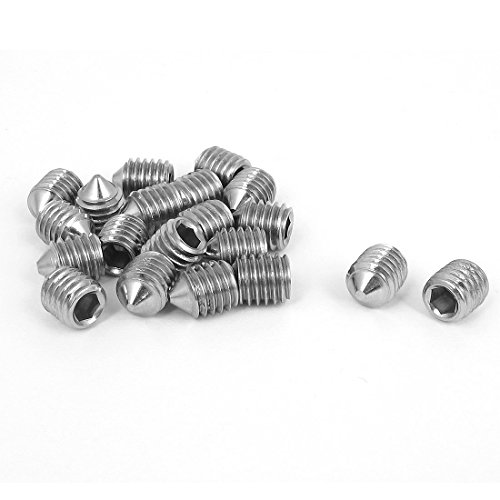 uxcell M8x10mm Stainless Steel Cone Point Hexagon Socket Grub Screws 20pcs
