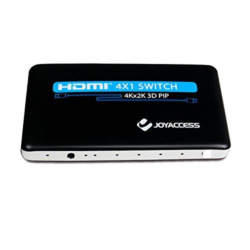 3D 4K x 2K 4 Port HDMI Switch, JOYACCESS HDMI Switcher Hub Port Switcheswith PIP and IR Wireless Remote Control-Black Simple Ir Hub