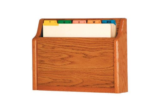 Wooden Mallet Square Bottom File Holder, Letter Size, Medium Oak